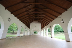 The Open-Air Refectory of the Serbian Orthodox Cloister at Grábóc, Hungary (Istvan) Tags: vault arch architecture viewpoint ceiling grass biulding wooden perspective tolna grábóc hungary