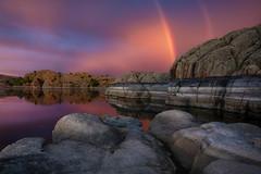 Willow Lake-7323 (Michael-Wilson) Tags: rainbow michaelwilson willowlake arizona prescott lake water storm clouds rock granite doublerainbow weather