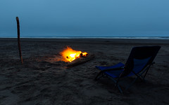 Look Out To Sea (John Westrock) Tags: fire chair stick ocean beach dusk cloudy sand nopeople washingtonstate oceanshores pacificnorthwest pnw canoneos5dmarkiii canonef1635mmf4lis