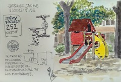 Parque infantil (Fotero) Tags: usk urbansketcher urbansketching urbansketch dibujo cuaderno cuaderno18 cahier notebook sketchbook insitu fromthelive acuarela watercolor estiografica fountainpen ink jardin parque barcelona inkyfingers