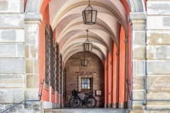 At the end of the archway... (Claudia G. Kukulka) Tags: archway gewölbegang bike fahrrad architecture architektur lamp lampe