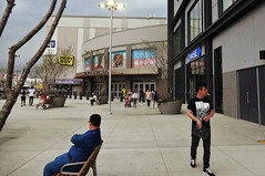 Saturday at the Mall (Robert S. Photography) Tags: mall kingsplaza benches sitting smoking walking lights summer signs brooklyn newyork sony dscwx160 iso100 august 2018