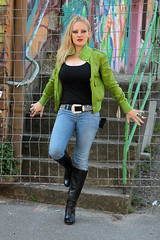 Yvonne 22 (The Booted Cat) Tags: sexy blonde hair girl model tight blue jeans denim belt leather jacket heels highheels boots