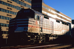 Departing L'Enfant (DJ Witty) Tags: dieselelectriclocomotive railroad photography nikon film passengertrain rr f100 rvp100 vre virginiarailwayexpress emd f40 washington dc usa