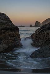 Moon Set over the Sea (Nancy King Photography) Tags: oregoncoast pacificcoast seastacks brookings starfish seastars waves oregon moon sunrise moonset pacific rocks