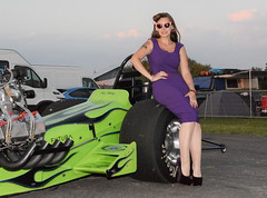 Holly_1791 (Fast an' Bulbous) Tags: classic dragster slingshot girl woman pinup model dress high heels wiggle people outdoor hot sexy dragstalgia santa pod nylons stockings