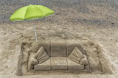 Beach chair (David Feuerhelm) Tags: sculpture sand beach art sofa green umbrella nikon southbank london streetart d750 2470mmf28