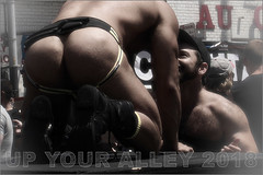 Up Your Alley 2018 (AstoriaCXR) Tags: sanfrancisco upyouralley2018 leather jockstrap boots gayevents skin buttshot hairychest photomanipulations gogodancer folsom dorealley