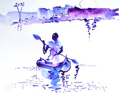 AFRICA TO THE NAKED 365 (eduard muntada) Tags: africa to the naked oxid 365 watercolor mountains river drawing minimal blue purple sun light