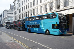 AMN 4414 and NXWM 6820 and 6810 @ Corporation Street, Birmingham (ianjpoole) Tags: arriva midlands alexander dennis enviro 400 yx64vmj 4414 national express west 400mmc sn66wea 6820 sn66wdp 6810 working sapphire route 110 the square peg birmingham corporation street tamworth platinum x4 minworth asda x3 bishops way hill hook respectively