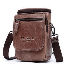 96dd928ee02df9 Vintage Genuine Leather Men Waist Bag Travel Fanny Pack Belt Loops Hip Bum  Bag Fits Phones
