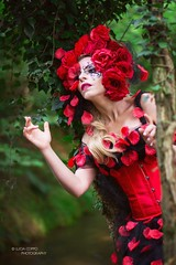 "TEATRONATURA ""Wild red rose"" (valeriafoglia) Tags: wild red rose art atmosphere amazing model makeup magic nature romantic creative composition capture colors creature light lights lady photo photography pretty portrait fantasy fairy wood outfit stylist"