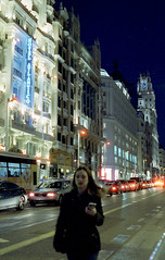 Gran Vía, Madrid (marioandrei) Tags: cinestill 800t 1 ei 800 contax g2 zeiss planar 45mm f2 t pushed stop 1600 rated overexposed