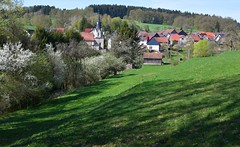 What a spring! (:Linda:) Tags: germany thuringia village bürden church tree blooming barn
