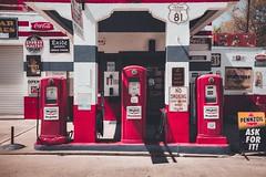 Old Gas (Sky Noir) Tags: petroliana gas oil texas usa us81 red roadside