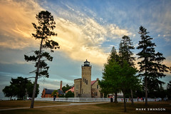 Old Mackinac Point Lighthouse (mswan777) Tags: scenic 1020mm sigma d5100 nikon silhouette tree tall pine straits michigan mackinawcity mackinacpoint nature outdoor orange yellow blue cloud sky evening sunset lighthouse
