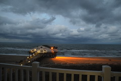 Kitty Hawk Pier (Beangrau12) Tags: kittyhawkpier storm sky balcony stormclouds atlanticocean beach pier sand beachchairs nikon3200 tamron16300mm
