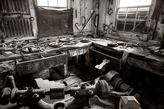 Gold Mine, machine shop-1800's (CameraOne) Tags: machineshop goldmine bodie ghosttown ruins urbandecay tools sepia raw blackandwhite monchrome cameraone canon6d canonef1740mm wideangle availablelight owensvalley calfornia