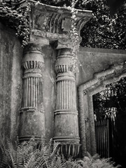 20180518-0128-Edit (www.cjo.info) Tags: 19thcentury 19thcenturyneogothic bw egyptianavenue england europe europeanunion highgate highgatecemetery highgatecemeterywest london m43 magnificent7 magnificentseven magnificentsevengardencemeteries microfourthirds nikcollection olympus olympuspenfgzuikoautos40mmf14 olympuspenf penfmount silverefexpro silverefexpro2 unitedkingdom victoriangothic westerneurope arch architecture blackwhite blackandwhite blur bokeh carving cemetery classiclens climbingplant column death decay digital flora focusblur gothic gothicrevival gravegraveyard ivy legacylens manualfocus monochrome overgrown plant shallowdepthoffield stone stonework victorian