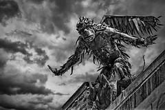 Flying Monkey (Frank C. Grace (Trig Photography)) Tags: flyingmonkey monkey wizardofoz hdr highdynamicrange photography blackandwhite d850 nikon handheld sculpture burlington vt vermont creepy scary metal on1pics