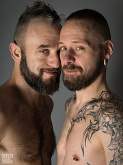 Tom & Joe (WF portraits) Tags: aut usa model man portrait studio tattoos naked skin chest beard gaycouple