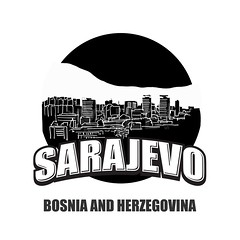 Sarajevo black and white logo (Hebstreits) Tags: aerial architecture attraction background beautiful bosnia bridge building capital card city cityscape clouds day destination drawing europe famous greeting hand herzegovina historic historical icon journey landmark landscape mosque old outline panorama panoramic poster roofs sarajevo silhouette sky skyline symbol tour tourism tourist town travel trip urban vector view