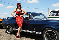 Holly_2185 (Fast an' Bulbous) Tags: classic custom car vehicle automobile people outdoor pinup model girl woman hot sexy chick babe long brunette hair red dress high heels stockings nylons