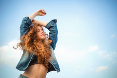 Denim Life (Sophie Barlow) Tags: approved portrait fashion portraitphotography fashionphotography sunset silhouette bright denim red hair colour pretty curly sky lightroom