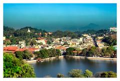 Kandy Lake and Kandy city aerial panoramic view