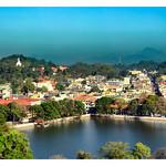 Kandy Lake and Kandy city aerial panoramic view thumbnail