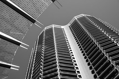 Steel and glass (Mister Rad) Tags: nikond600 nikon50mmf14g westernaustralia perth qv1 architecture blackandwhite