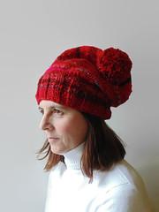Pom pom Beanie Chunky Knitted in Red Soft Wool (brandacrafts) Tags: branda knits beanie hat red pompom