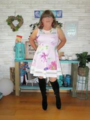 Flower dress (Trixy Deans) Tags: crossdresser cd cute crossdressing crossdress classic cocktaildress corset shortskirt shortskirts boots kneeboots shorts tgirl tv transgendered transsexual transvestite tgirls xdresser sexy sexyheels sexytransvestite sexylegs shemale