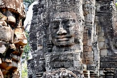 Bayon - Temple of the mysterious stone face towers (One more shot Rog) Tags: camboida cambodians vietnam ancient angkor angkorwat angkorwattemple ruins ruin faces rock stomne temples buddhists buddhist monks buddhistmonks onemoreshotrog old bayon bayontemple rockfaces angkorthom khmer khmertemples