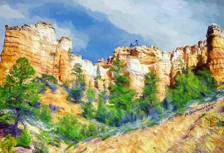 Sandstone Cliffs along the Mossy Cave Trail at Bryce Canyon Utah