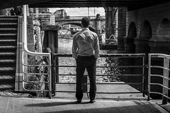 Ripples (Leanne Boulton (Away)) Tags: urban street candid portrait streetphotography candidstreetphotography candidportrait streetlife urbanlandscape riverclyde man male businessman back watching river riverside clyde water ripples reflection creases shirt railing steps composition framing bridge tone texture detail depthoffield bokeh naturallight outdoor light shade shadow city scene human life living humanity society culture people canon canon5d 5dmkiii ef2470mmf28liiusm black white blackwhite bw mono blackandwhite monochrome glasgow scotland uk