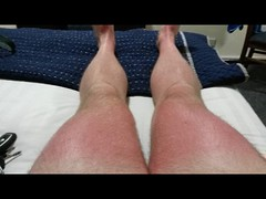 Sunburnt summer legs. (paul.knightley) Tags: bulge muscle thigh guy hair thighs male man legs hairy