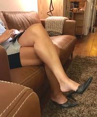 MyLeggyLady (MyLeggyLady) Tags: leather pumps mules sex hotwife milf sexy secretary teasing minidress crossed thighs dangling cfm stiletto legs heels