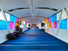 SkyWalk entrance to the Toronto Convention Centre, Toronto, Ontario, Canada (duaneschermerhorn) Tags: pedestrianwalkway walkway carpet colorful colourful blue red orange white vanishingpoint architecture structure architect toronto ontario canada city urban downtown