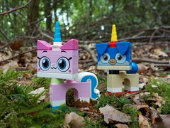 Walking in the woods (Lego Custom Zone) Tags: lego minifigure toy unikitty puppycorn forest leaf shrubs tree wood minifigs toys shrub