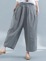 Women Casual Elastic Waist Loose Plaid Harem Pants (1331952) #Banggood (SuperDeals.BG) Tags: superdeals banggood clothing apparel women casual elastic waist loose plaid harem pants 1331952