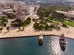 White Tower of Thessaloniki and two ancient ships