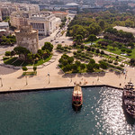 White Tower of Thessaloniki and two ancient ships thumbnail