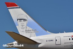 Icon: Babe Ruth (American professional baseball player ) on tail of Norwegian Air Shuttle Boeing 787-9 Dreamliner (G-CKMU) (PictureJohn64) Tags: d7100 sigma nikon vliegveld vliegtuig airplane plane picturejohn64 usa sport honkbal staart gckmu norwegian aircraft 7879 boeing dreamliner tail baberuth baseball america