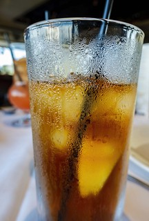 Close-up of a glass of ice cold soft drink