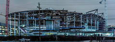 chase center (warriors arena), progress 7.27.18 (pbo31) Tags: bayarea california nikon d810 color july summer 2018 boury pbo31 sanfrancisco city urban night dark black blue construction missionbay arena chasecenter warriors build crane nba basketball sports entertainment venue panoramic large stitched panorama