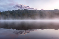Timeless (Christina Angquico) Tags: mountrainier mountrainiernationalpark reflectionlake pacificnorthwest pnw washingtonstate reflection lake mist fog nikon 1635mm sunrise mountain christinaangquico