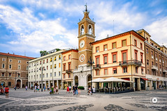 Piazza Tre Martiri, Rimini Italy (PeterFineart) Tags: rimini itally square architecture arch city citycenter sky clouds people street travel travelphoto travellers lamp cityhall buildings landscape building road tower