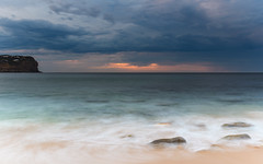 Sunrise Seascape and Cloudy Sky (Merrillie) Tags: daybreak sunrise nature water nsw centralcoast waves sea newsouthwales rocks earlymorning morning landscape australia ocean macmasters waterscape clouds coastal macmastersbeach outdoors seascape dawn coast cloudy sky