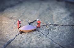 Close encounter. (Matt_Briston) Tags: flying saucer crack landing alien spaceship pavement workers men close encounter nikon d7000 matt cooper